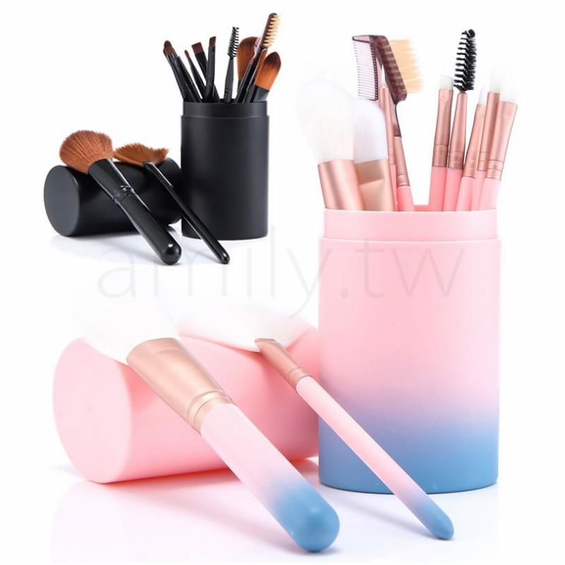 ✨現貨批發✨12隻裝刷具組 桶裝化妝刷具組 粉底刷 蜜粉刷 眼影刷 眼影棒 唇刷 眉刷 彩妝刷具