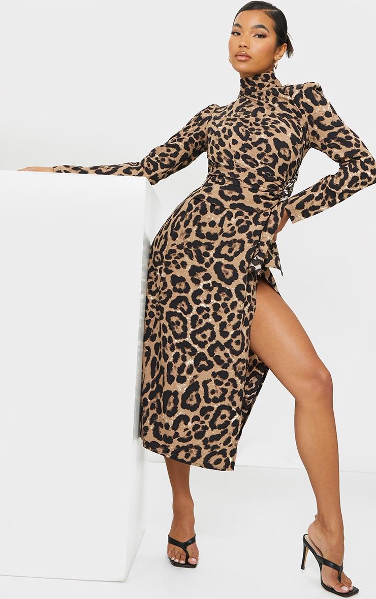 Tan Leopard Print High Neck Draped Waist Midi Dress