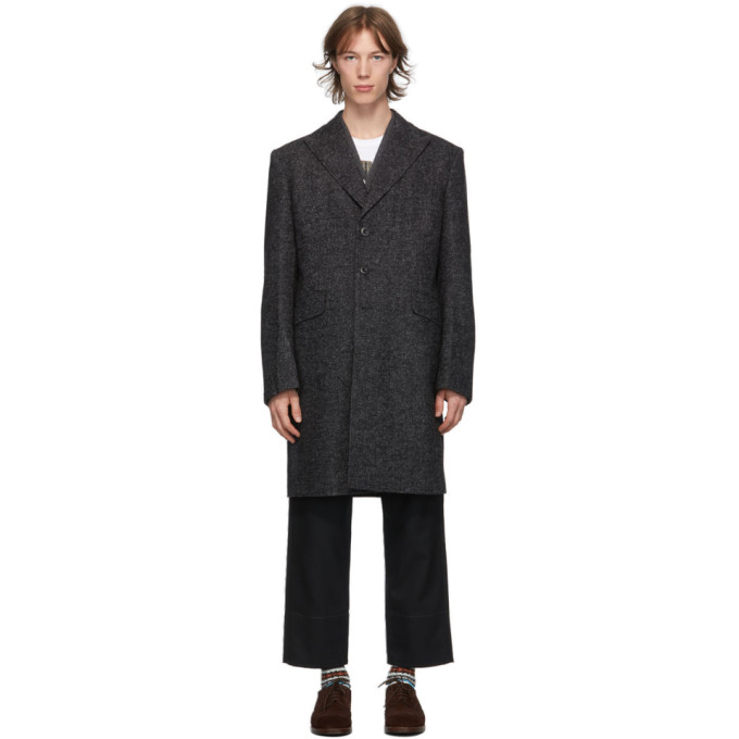 Junya Watanabe 黑色 and 灰色夹色大衣