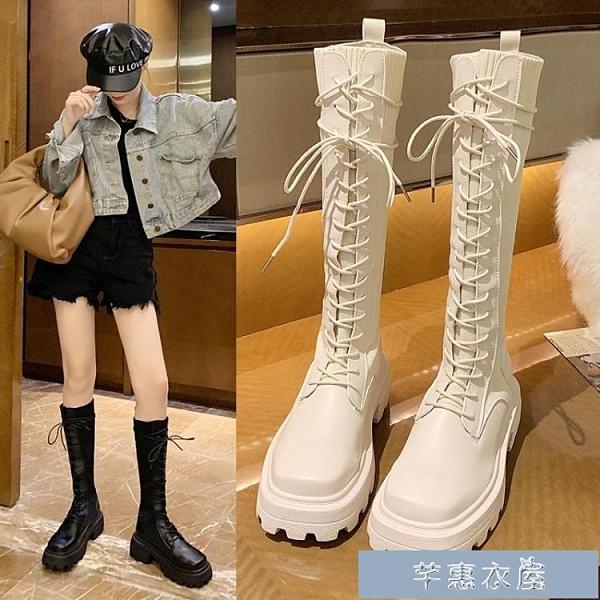 長靴女不過膝2020新款秋冬季加絨方頭厚底粗跟高筒襪靴長筒騎士靴 交換禮物