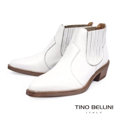 Tino Bellini義大利進口拼接線條皮革造型中跟短靴_白