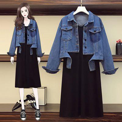 兩件式 外套 內搭裙 中大尺碼L-4XL新款大碼女裝胖MM牛仔外套裝連身裙顯瘦遮肉 4F056-8382.胖胖美依