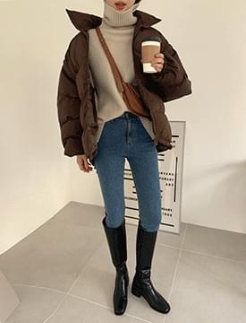 韓國空運 - Combine Fleece-lined slim ankle denim pants 牛仔褲