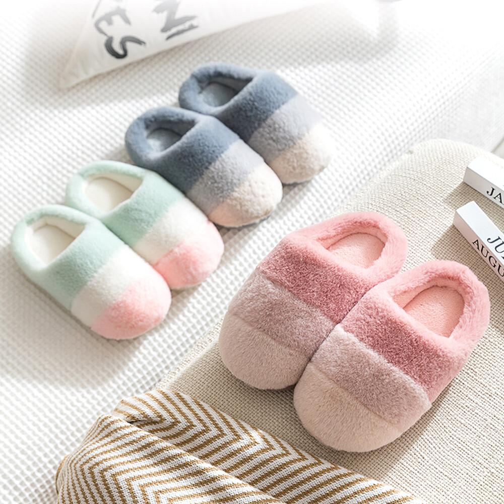 star baby兒童馬卡龍撞色秋冬室內棉拖鞋