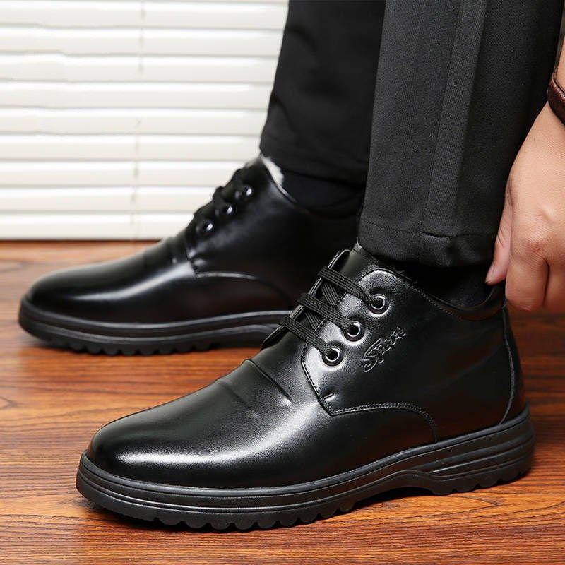 【推薦】正品冬季加絨加厚保暖棉鞋中幫高幫男鞋休閑皮鞋男爸爸鞋