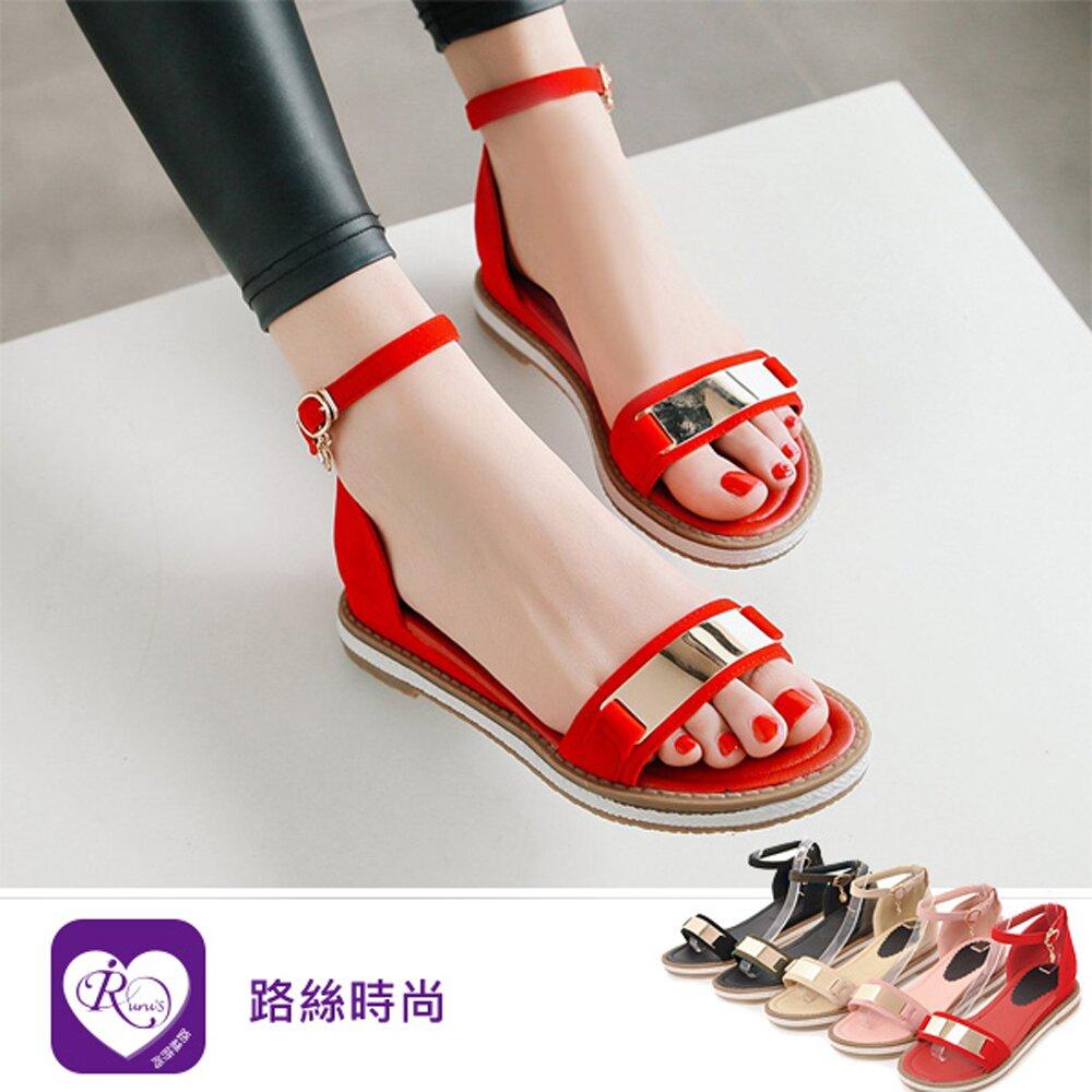 【iRurus 路絲時尚】韓系甜美浪漫亮面一字扣磨砂麂皮涼鞋/5色/35-43碼 (RX1150-Y600)零碼促銷