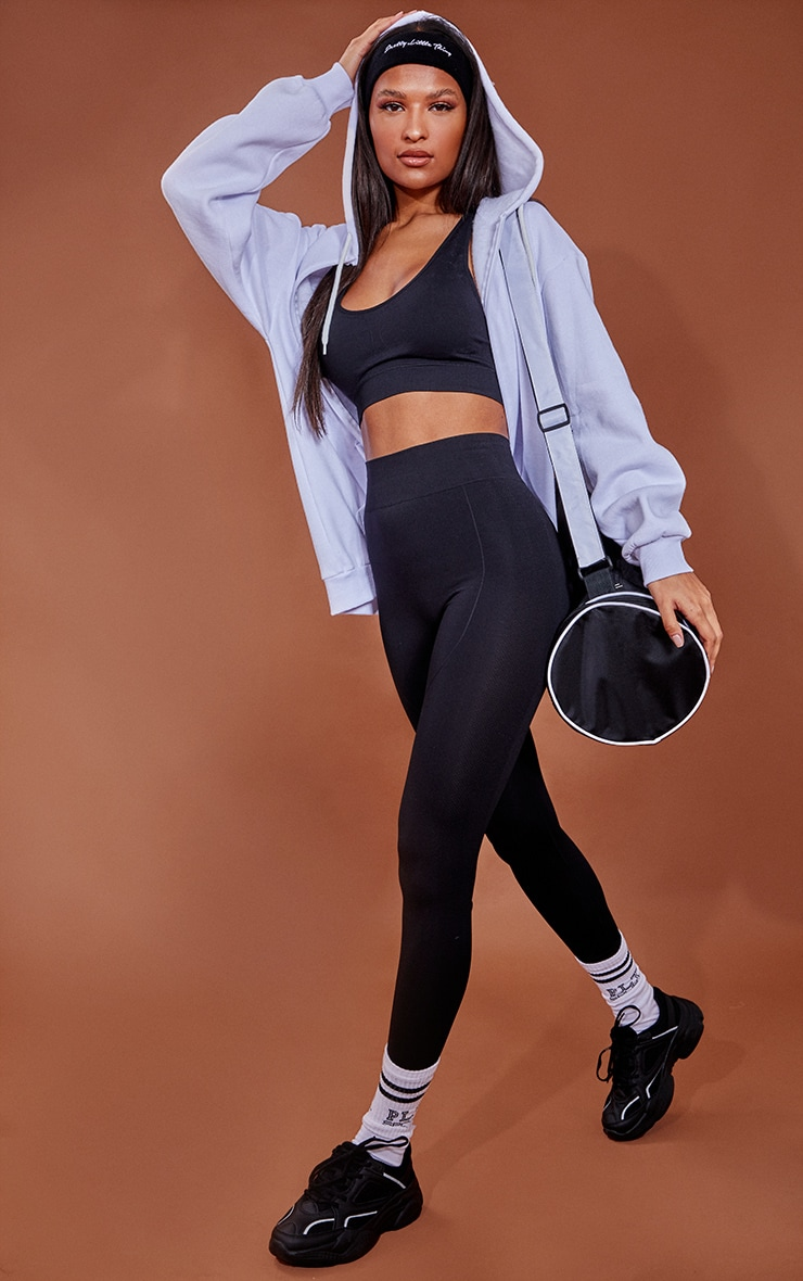 PRETTYLITTLETHING Black Contour Cropped Seamless Gym Leggings