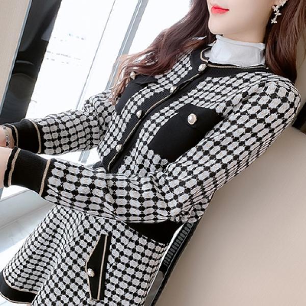 洋裝 小禮服秋格子長袖針織衫毛衣外套 蓬蓬短裙時尚兩件套裝裙T539紅粉佳人