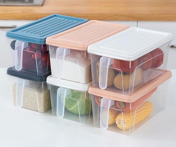 收納盒 冰箱收納盒抽屜式透明廚房日式食品儲物盒密封帶蓋手柄雞蛋保鮮盒【快速出貨八折優惠】