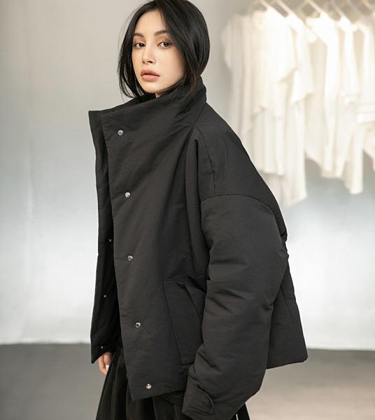 日系山本CD風寬鬆金屬紐扣短版保暖棉衣外套/設計家MY-950