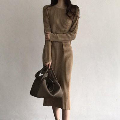 洋裝 針織裙 內搭 秋冬百搭純色寬鬆高領長袖中長款韓國打底針織毛衣連身裙T619A-8510.胖胖美依