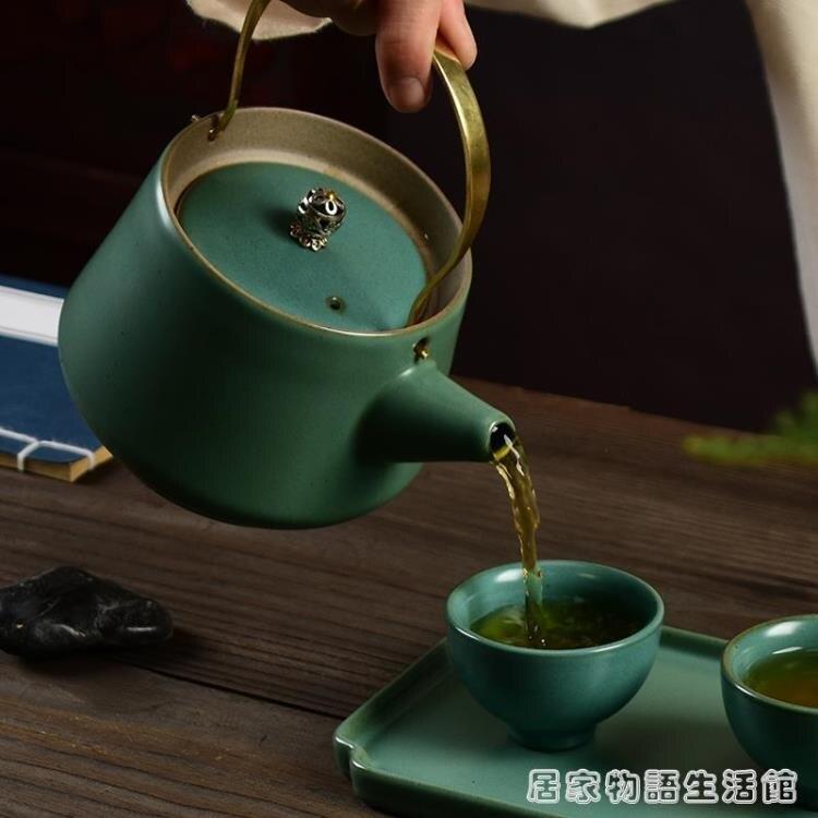 復古綠提梁壺泡茶壺大號陶瓷粗陶壺家用大容量水壺日式功夫茶具