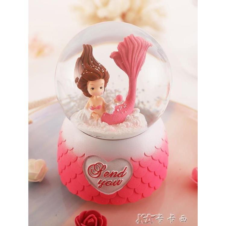 水晶球音樂盒八音盒帶雪花可發光旋轉女生男生生日禮物