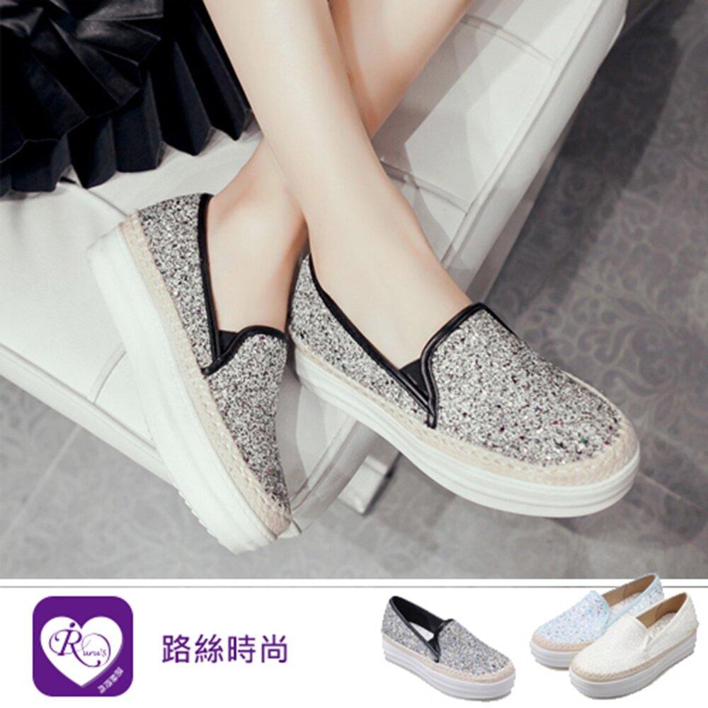 【iRurus 路絲時尚】個性百搭編織亮面拼色增高鞋/黑色40 (RX1183-16-19)零碼促銷