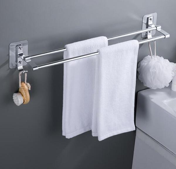 毛巾架 免打孔毛巾架衛生間無痕強力粘貼浴室毛巾桿單桿掛毛巾架【快速出貨八折鉅惠】