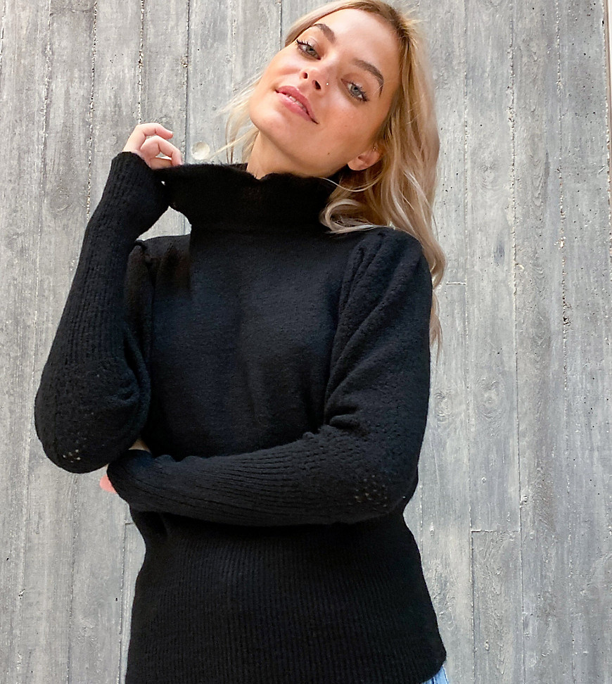 Vila Petite jumper with frill neck in black