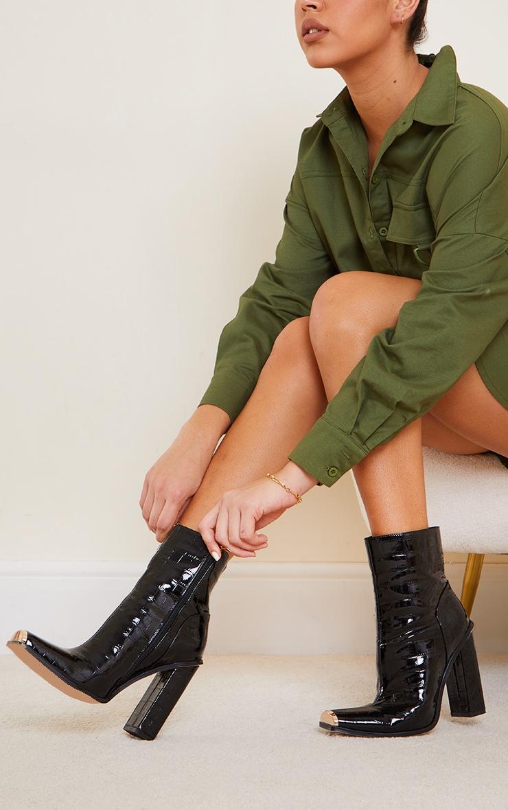 Black Metal Toe Highlight Block Heel Ankle Boots