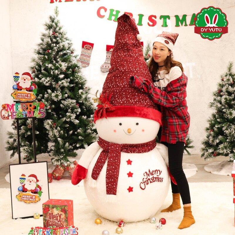 圣誕節裝飾雪人公仔娃娃老人擺件1米1.5m大雪人商場櫥窗場景布置
