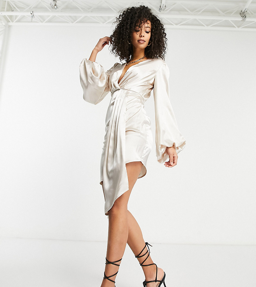 Jaded Rose Tall exclusive plunge satin mini dress with balloon sleeve and train detail in cream-Whit