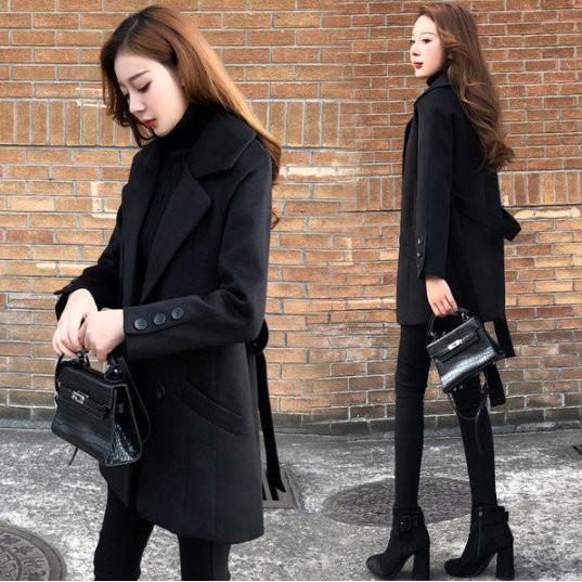 大衣 外套 風衣 S-2XL冬新款款小個子毛呢外套寬鬆繭型系帶呢子大衣女裝T613A.6857胖胖美依