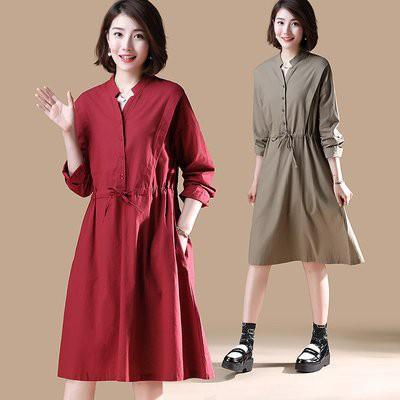洋裝 連身裙 襯衫裙 中大尺碼L-5XL新款胖mm中長款寬鬆休閒連身裙NB11G-7951.胖胖美依