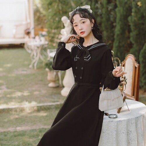 SaSa 韓國風氣質條紋領結雙排釦收腰長版長袖洋裝