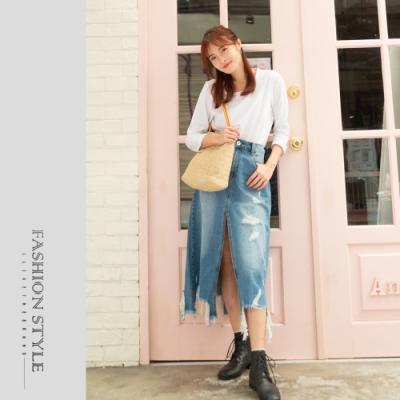 2F韓衣-個型開衩刷破牛仔裙-牛仔藍(S-XL)