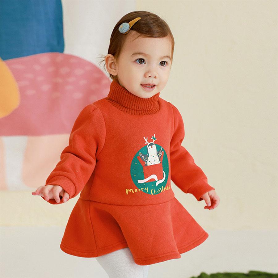 兒童聖誕節日企鵝高領連衣裙