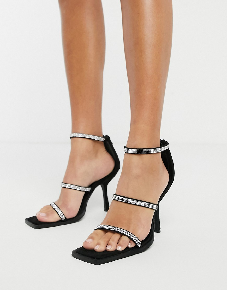NA-KD embellished strappy heels in black