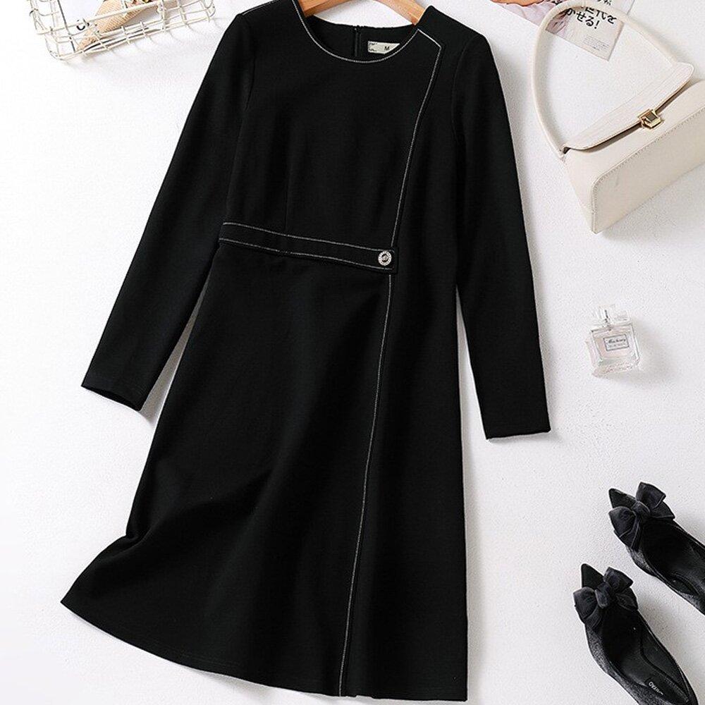 【麗質達人】PM5073黑色假二件洋裝(L-5XL)