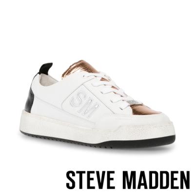 STEVE MADDEN-GIMMIE 品牌拼接仿舊小白鞋女鞋-白色