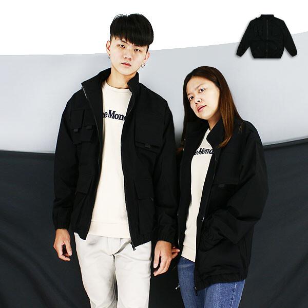 外套-立領多袋機能夾克999061039黑色rfd