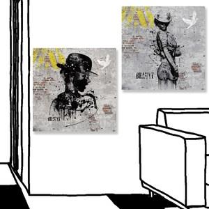 【24mama 掛畫】二聯式 油畫布 無框畫 50x50cm-歌舞婦女油畫布無時鐘