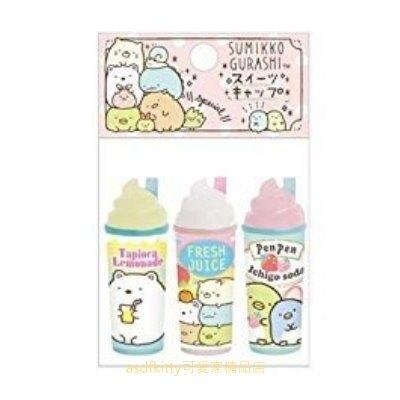 asdfkitty*日本san-x角落生物粉紅色點點冰淇淋汽水3入造型鉛筆蓋/鉛筆延長器/鉛筆套/鉛筆帽-日本正版商品