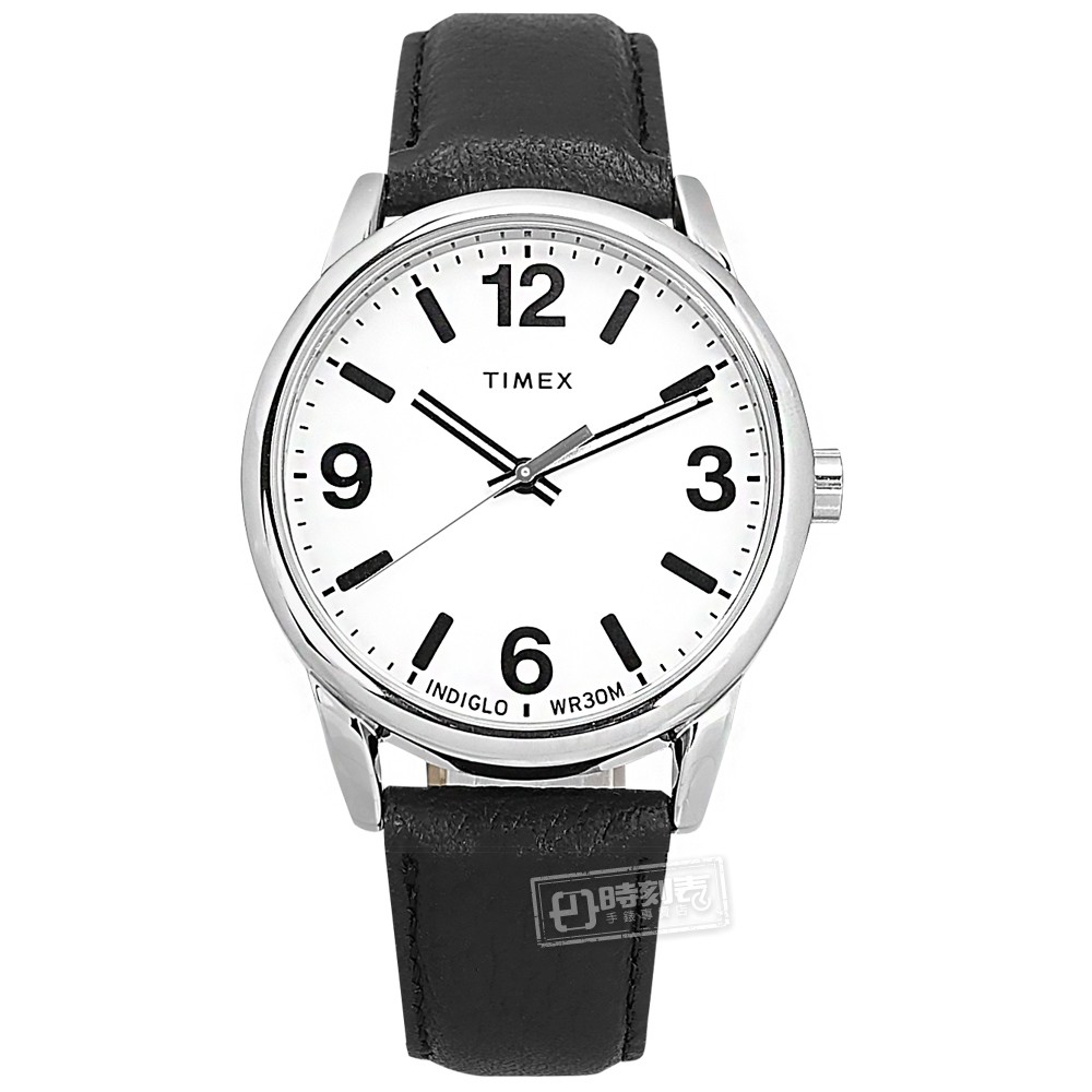 TIMEX 天美時 /Easy Reader系列 冷光照明 真皮手錶 白x銀框x黑 /TXTW2U71700/ 38mm