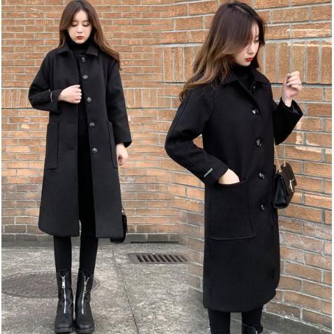 大衣 外套 風衣中長版S-2XL毛呢韓版修身顯瘦中長款呢子大衣毛呢黑色外套T613A.959胖胖美依