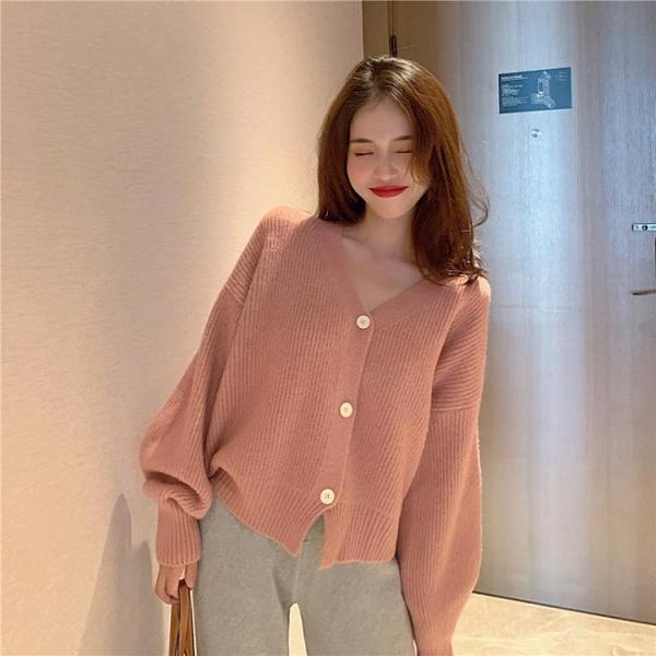 春秋裝新款網紅燈籠袖短款毛衣女外套韓版寬松外穿針織開衫女