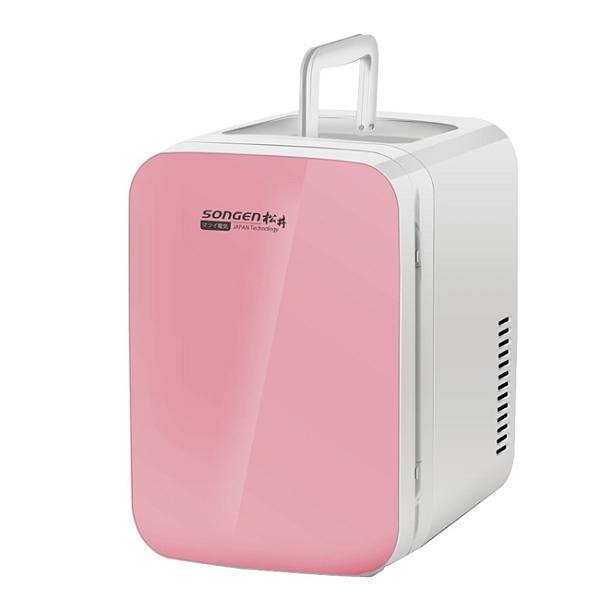 SONGEN松井-電子式冷暖兩用玻璃面板冰箱6公升-CLT-06R 粉色