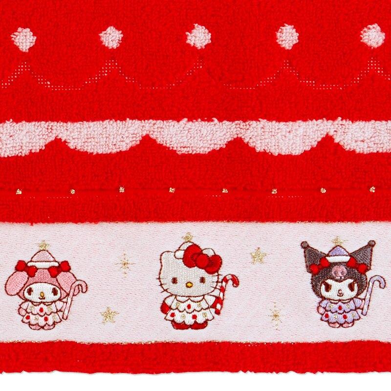 小禮堂 Sanrio大集合 純棉無捻紗方巾 純棉手帕 小毛巾 25x25cm (紅 2020聖誕節)