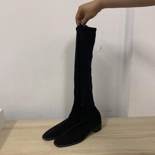韓版顯瘦彈性布襪靴低跟中筒靴長靴(36-40號/777-7359)
