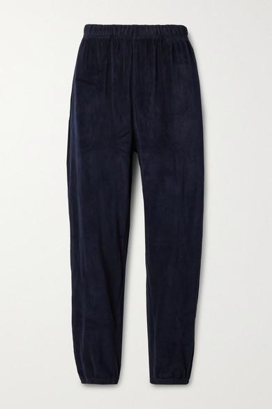 Les Tien - 棉质混纺密丝绒运动裤 - 午夜蓝 - large