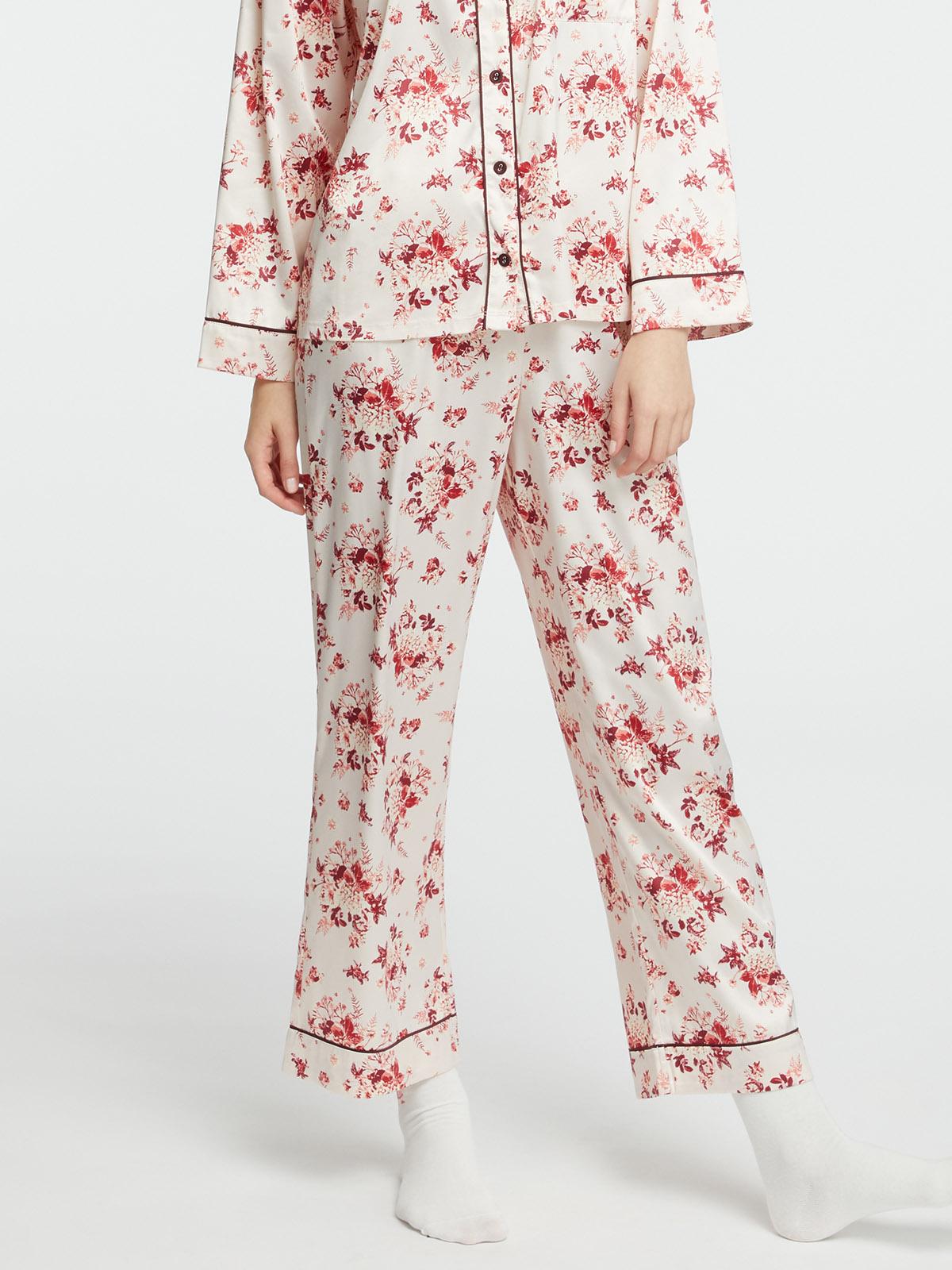 花卉緞面睡褲