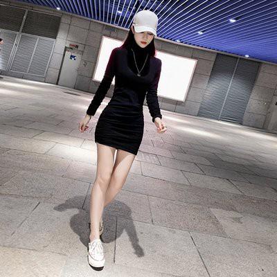 實拍年女高領修身包臀性感百搭小黑裙子緊身內搭連衣裙女.NE215D.5860胖胖美依