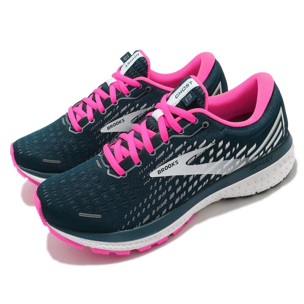 BROOKS 慢跑鞋 Ghost 13 運動 女鞋 路跑 緩震 DNA科技 透氣 健身 藍綠 粉 [1203381B391]