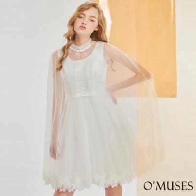OMUSES 兩件式蕾絲刺繡伴娘短禮服