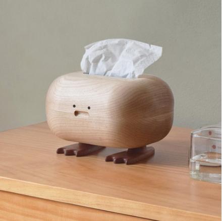 山舍丨大脚紙巾盒實木家用客廳紙抽盒創意可愛抽紙盒