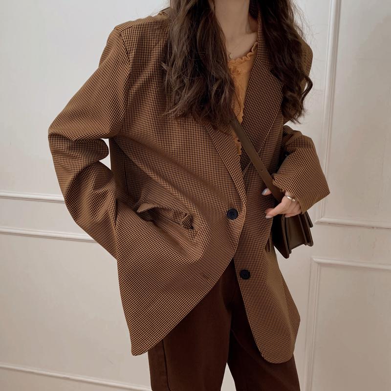 西裝外套 179102韓版寬鬆顯瘦單排扣氣質格子西裝休閒外套