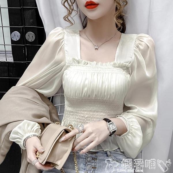 長袖襯衫2021秋裝新款設計感短款泡泡袖雪紡衫薄款透視襯衫女長袖方領上衣 嬡孕哺 新品