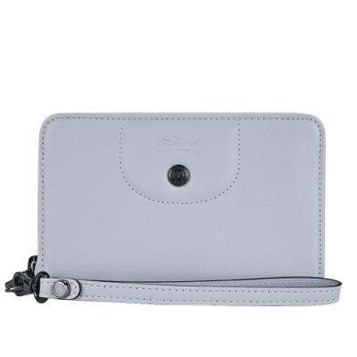 LONGCHAMP LE PLIAGE CUIR系列小羊皮手掛式零錢夾(灰)
