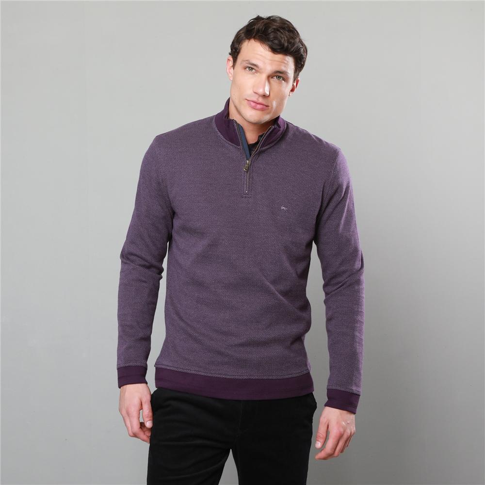 Magee 1866 Plum Edrim 1/4 Zip Classic Fit Sweater